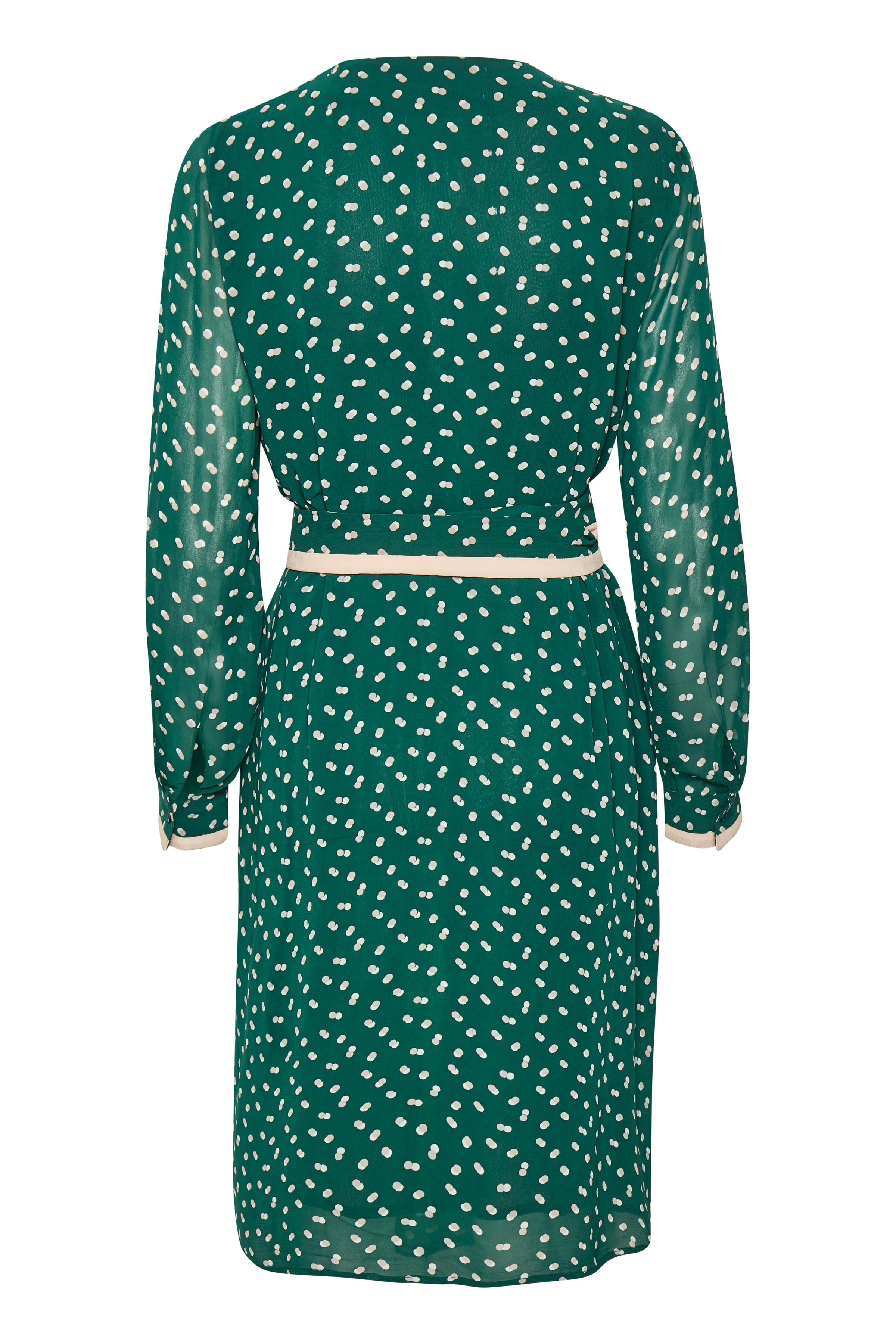 Warm Green Double Dot Kjole – Køb Warm Green Double Dot Kjole fra str. 34-38 her